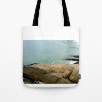rio de janeiro Tote Bags featuring Rio de janeiro Beach by Tatiana Mab