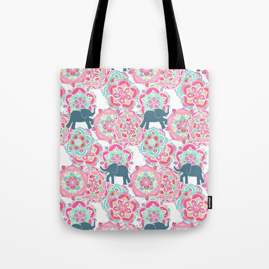 Tiny Elephants in Fields of Flowers Tote Bag