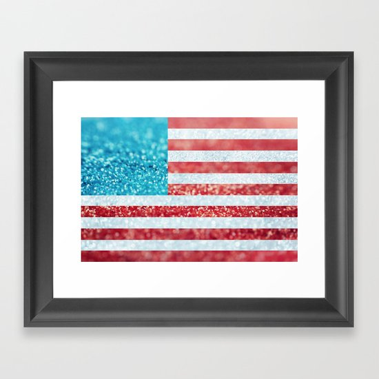 Red, White, and Glitter (Photo of Glitter) Framed Art Print