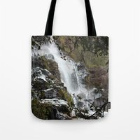 waterfall Tote Bags featuring Waterfall by Four Hands Art