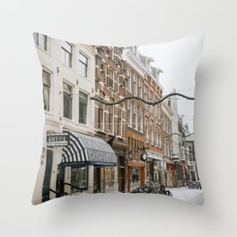 Travel Europe   Snowy Amsterdam in the winter   city shape abstract art   Photography travel  Throw Pillow