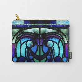 Blue and Aqua Stained Glass Victorian Design Carry-All Pouch