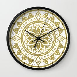 White & Gold Patterned Flower Mandala Wall Clock