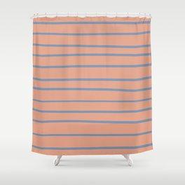 Dusky Sky Blue 27-23 Hand Drawn Horizontal Lines on Earthen Trail Pink 4-26 Shower Curtain