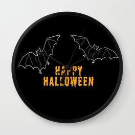 Happy Halloween Bat Wall Clock