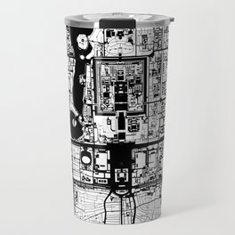 Beijing city map black and white Travel Mug