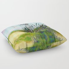 Plaid Beachscape with Seagrass Floor Pillow