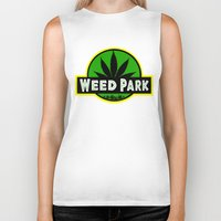 jurassic park Biker Tanks featuring Weed Park Jurassic style  by Spyck
