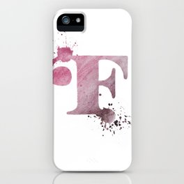 """F"" Watercolour Letter Typography Illustration Hand Made Initial iPhone Case"