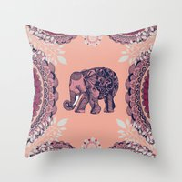 bohemian Throw Pillows featuring Bohemian Elephant  by rskinner1122
