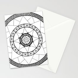 Zen Star Mandala - White Black - Square Stationery Cards