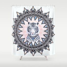 White Tiger Sapphire and Rose Mandala Shower Curtain