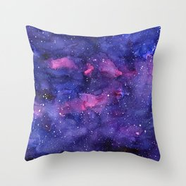 Galaxy Pattern Watercolor Throw Pillow
