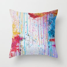 HAPPY TEARS Bright Cheerful Abstract Acrylic Painting, Drip Splat Bold Pink Red Purple Spring Art Throw Pillow