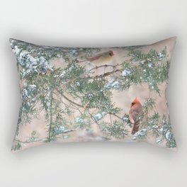 Winter Pair Cardinals (v) Rectangular Pillow