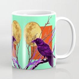 Surreal Purple-green  Mystic Moon Crow/Raven Moon Abstract Coffee Mug