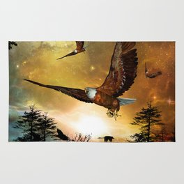 Awesome flying eagle Rug