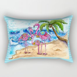 The Flamingo Family's Day at the Beach Rectangular Pillow