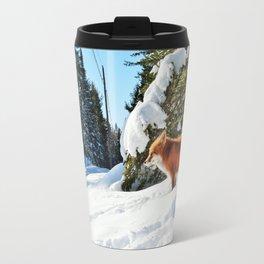 Happy Red Fox in Fresh Snow in Algonquin Travel Mug