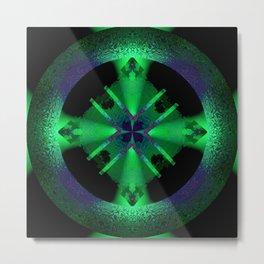 Spinning Wheel Hubcap in Green Metal Print
