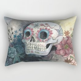 Sugar Skull with Flowers Rectangular Pillow