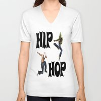 hip hop V-neck T-shirts featuring Hip Hop by ezmaya