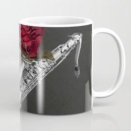 Black White Saxophone Red Rose Musical Instrument Art A508 Coffee Mug
