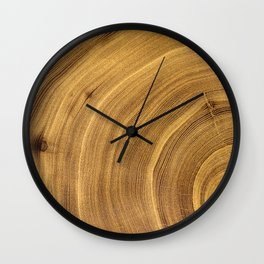 Detailed rich dark brown wood tree with circle growth rings pattern Wall Clock