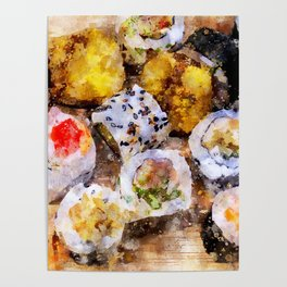 Sushi board - watercolor Poster