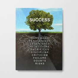 Success Tree Motivational Wall Art Entrepreneur Hustle Motivation Metal Print