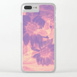Ghost butterflies in an abstract purple and pink landscape Clear iPhone Case