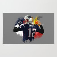 patriots Area & Throw Rugs featuring Tom Brady by J Maldonado