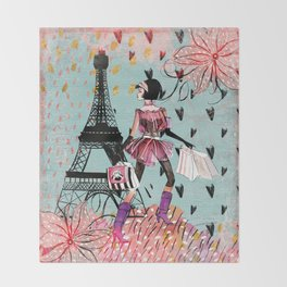 Fashion girl in Paris - Shopping at the EiffelTower Throw Blanket