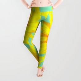 Sunflowers on a pastel green backgrond - #Society6 #buyart Leggings