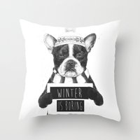 snowboarding Throw Pillows featuring Winter is boring by Balazs Solti