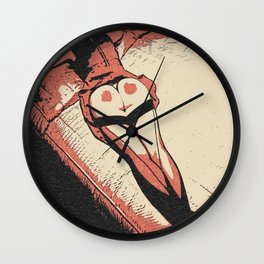 Spank me hard! Sexy bedroom games, kinky spank marks on heart booty, naughty adult artwork Wall Clock