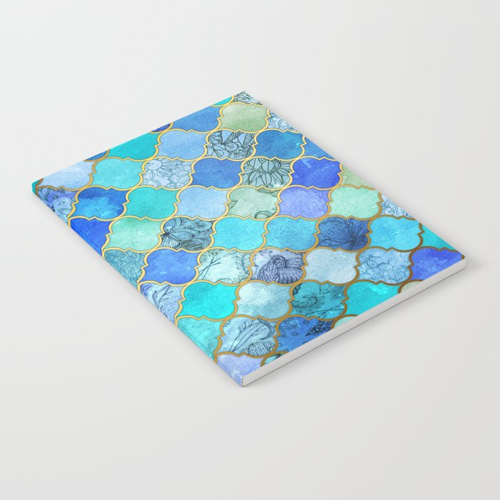 Cobalt Blue, Aqua & Gold Decorative Moroccan Tile Pattern Notebook