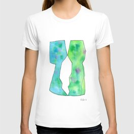 Love - blue green watercolor abstract painting T-shirt