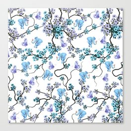 Modern lavender teal floral elephant butterfly pattern Canvas Print