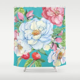 Elegant, Chic Floral Print on Eggshell Blue Shower Curtain