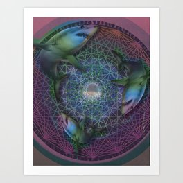 Bloom- Shark Digital Collage Art Print Art Print
