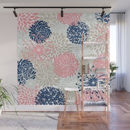 Floral Mixed Blooms, Blush Pink, Navy Blue, Gray, Beige Wall Mural