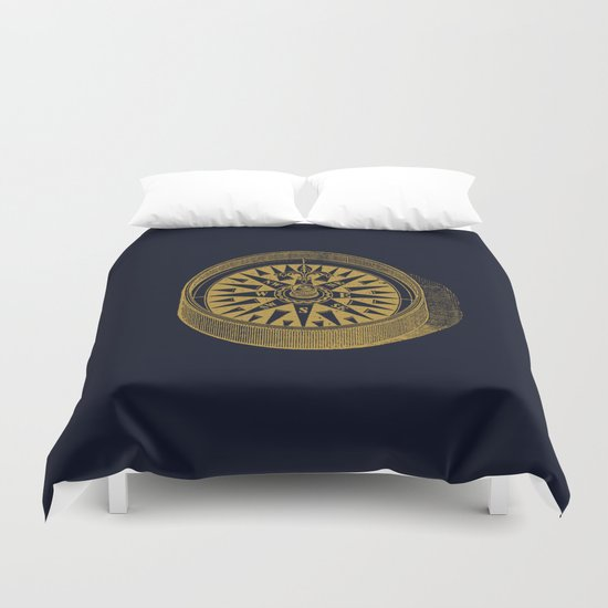 The golden compass I- maritime print with gold ornament by simplicity_of_live