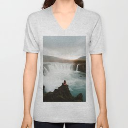 Last sunlight at Godafoss Waterfall Unisex V-Neck
