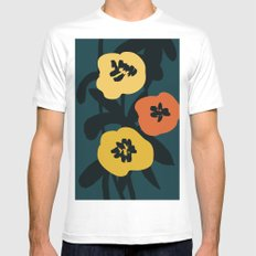 Midnight Flowers Mens Fitted Tee X-LARGE White