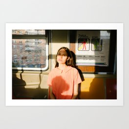 Girl on train Art Print
