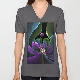 Decorative Flower Fractal, Floral Fantasy Unisex V-Neck