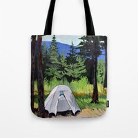 camp Tote Bags featuring Camp by Kira Yustak