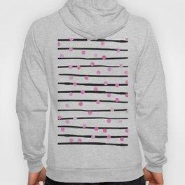 Blush pink black watercolor modern stripes polka dots Hoodie