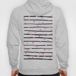 Blush pink black watercolor modern stripes polka dots Hoody